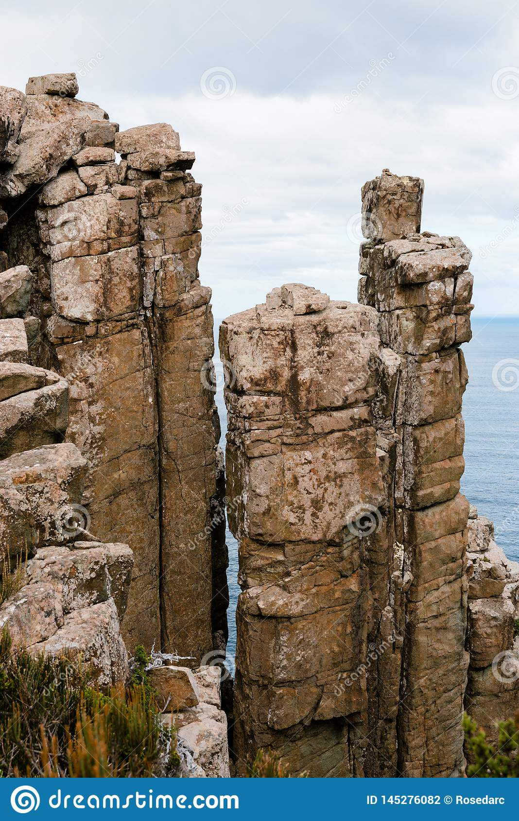Doleryt kolumny, przylądka filar, Tasmania, Australia