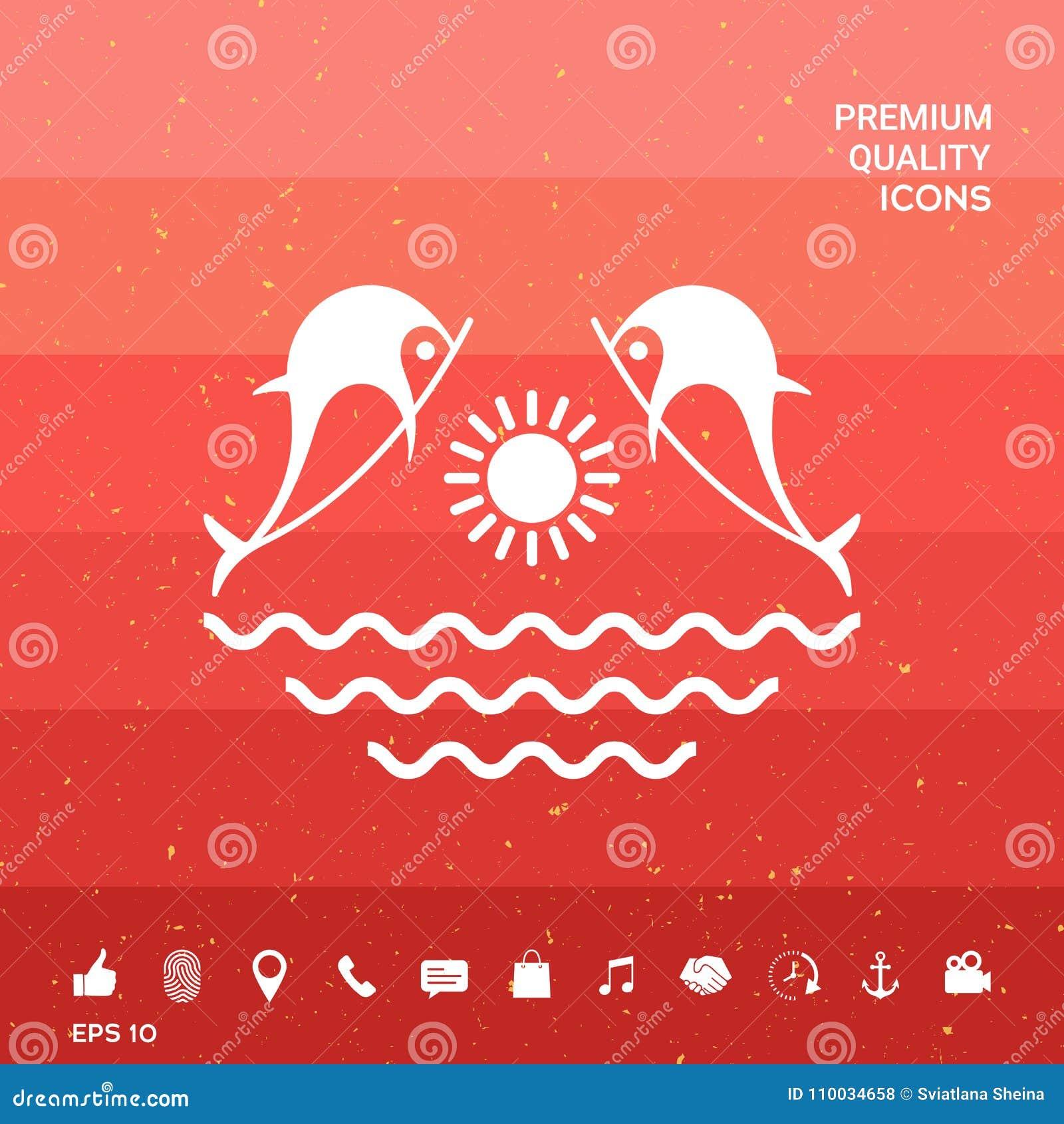 Dolfijnen met zon & overzees - Embleem