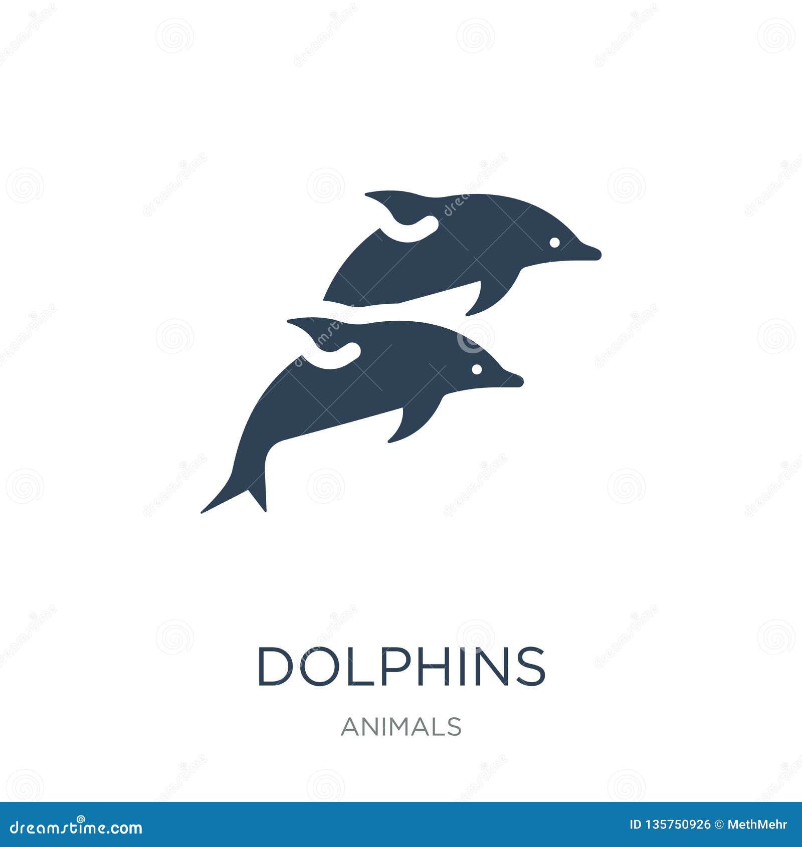 Dolfijnenpictogram in in ontwerpstijl dolfijnenpictogram op witte achtergrond wordt geïsoleerd die eenvoudige en moderne vlakte v