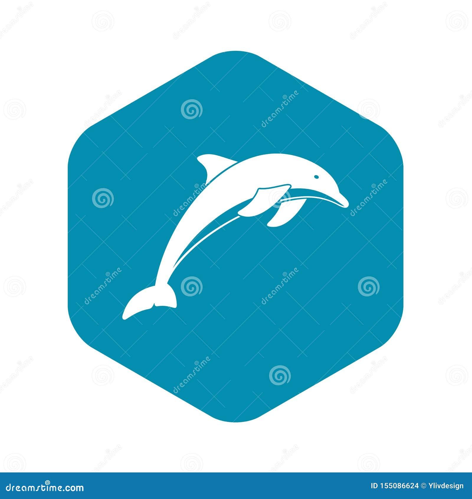 Dolfijnpictogram, eenvoudige stijl