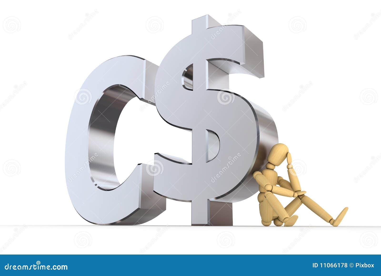 Doll At Canadian Dollar Symbol Stock Illustration Illustration Of