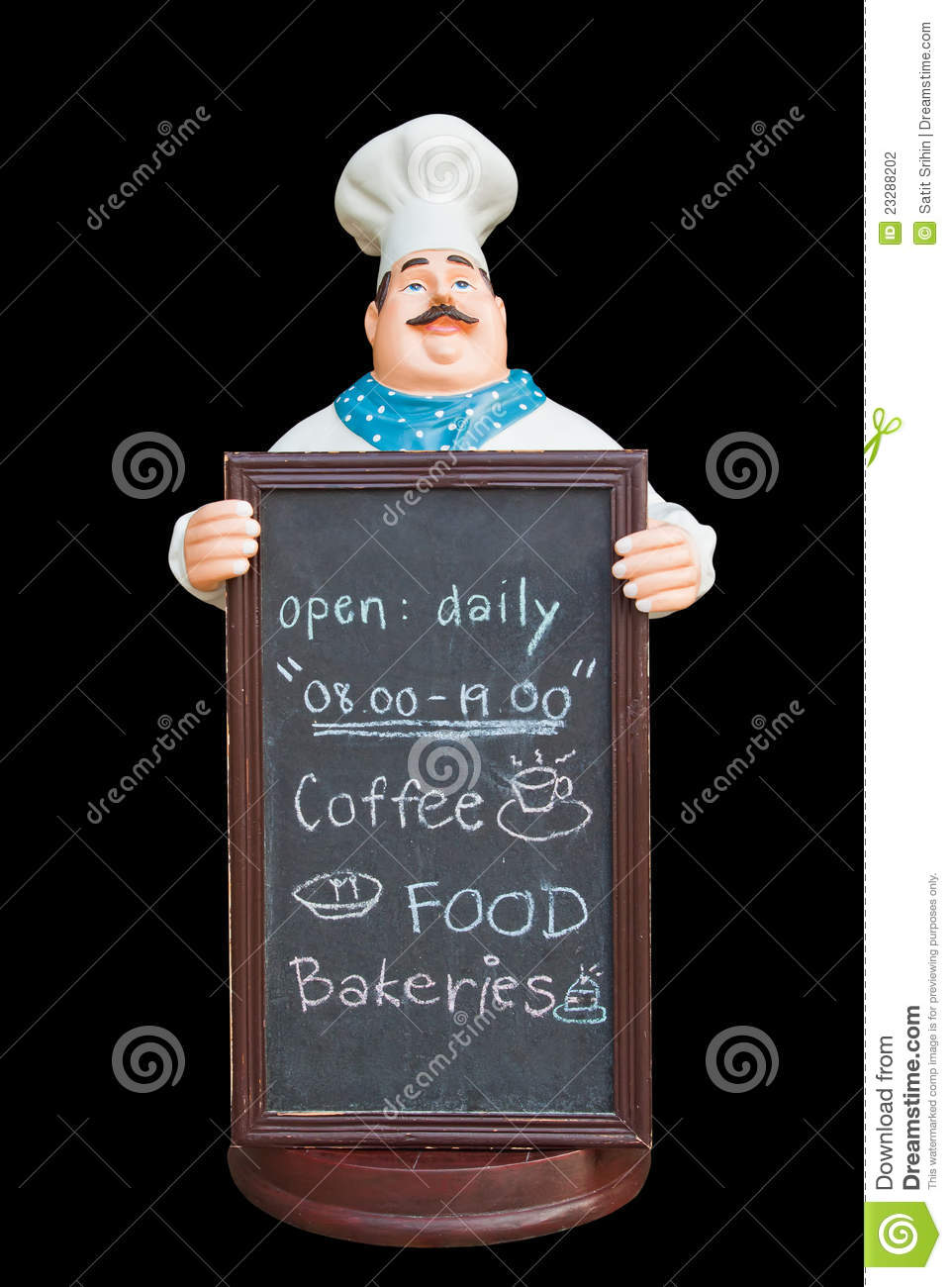 Gourmet Kitchen Appliances Doll Ceramic Chef With Chalkboard Stock Photo - Image ...