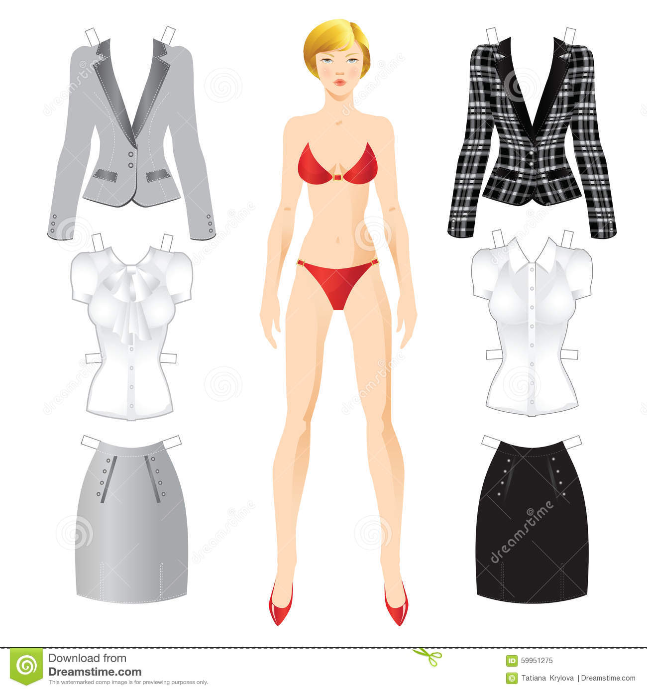 paper doll template woman - doll with clothes stock vector image 59951275