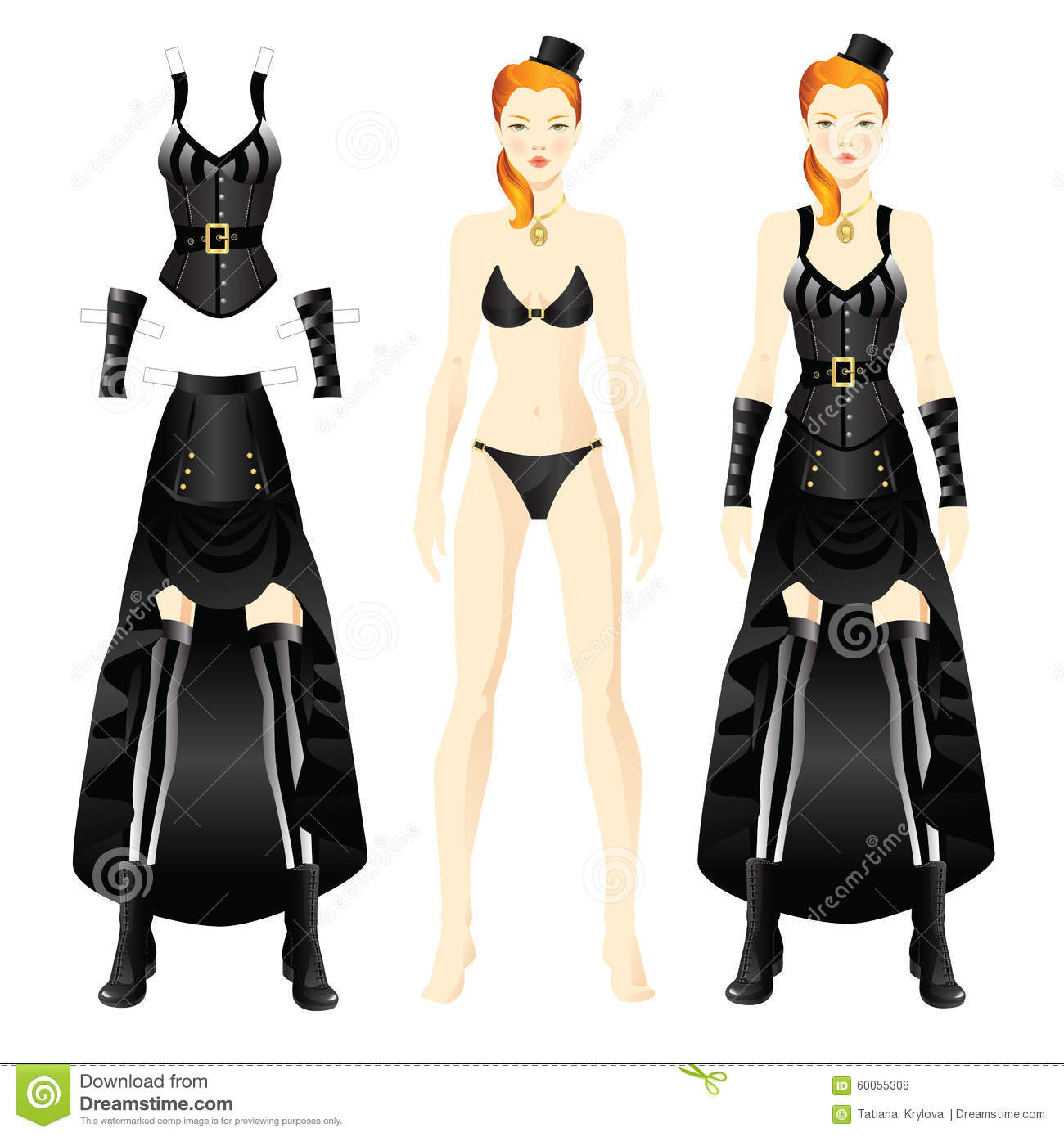 paper doll template woman - doll with clothes stock vector image 60055308