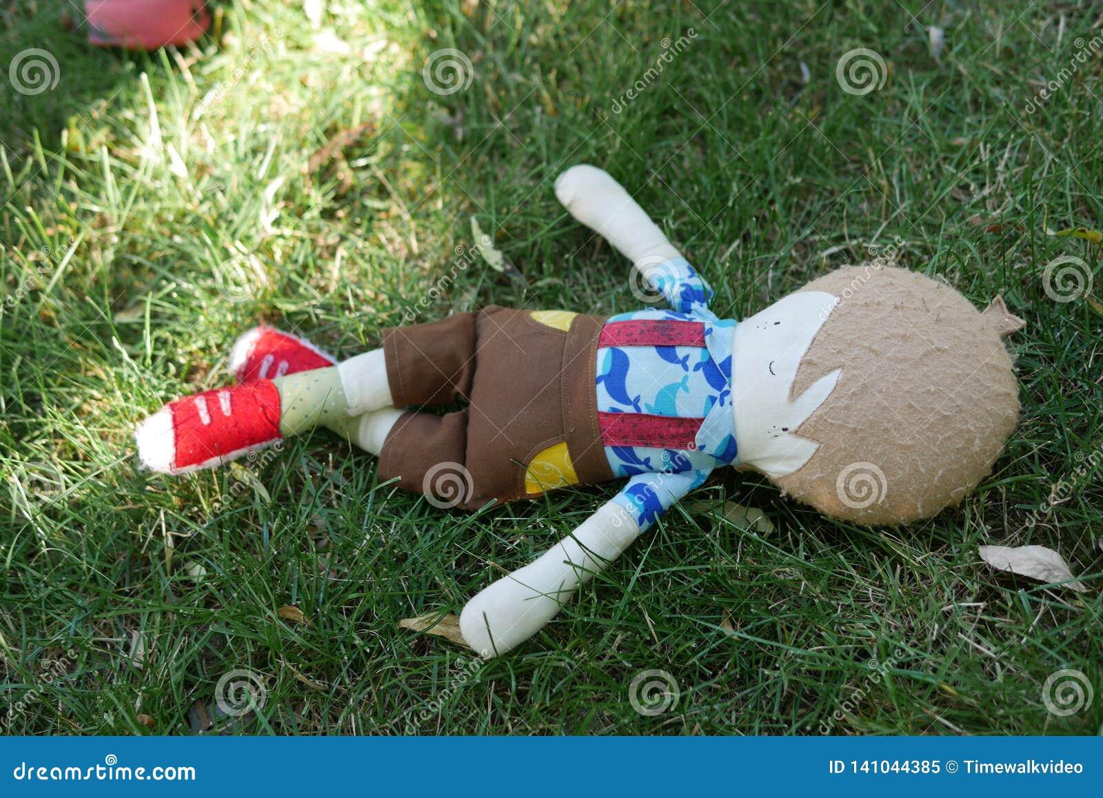 Doll die van de jonge Jongen in Gras leggen