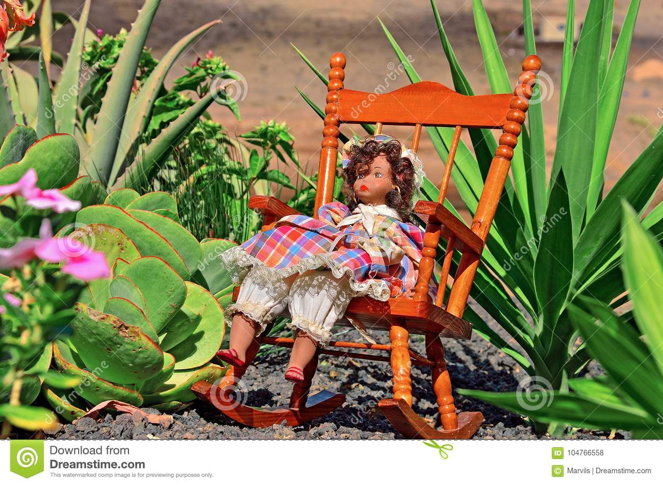 Download Doll In The Dress At The Garden Stock Photo   Image Of Dacha, Doll