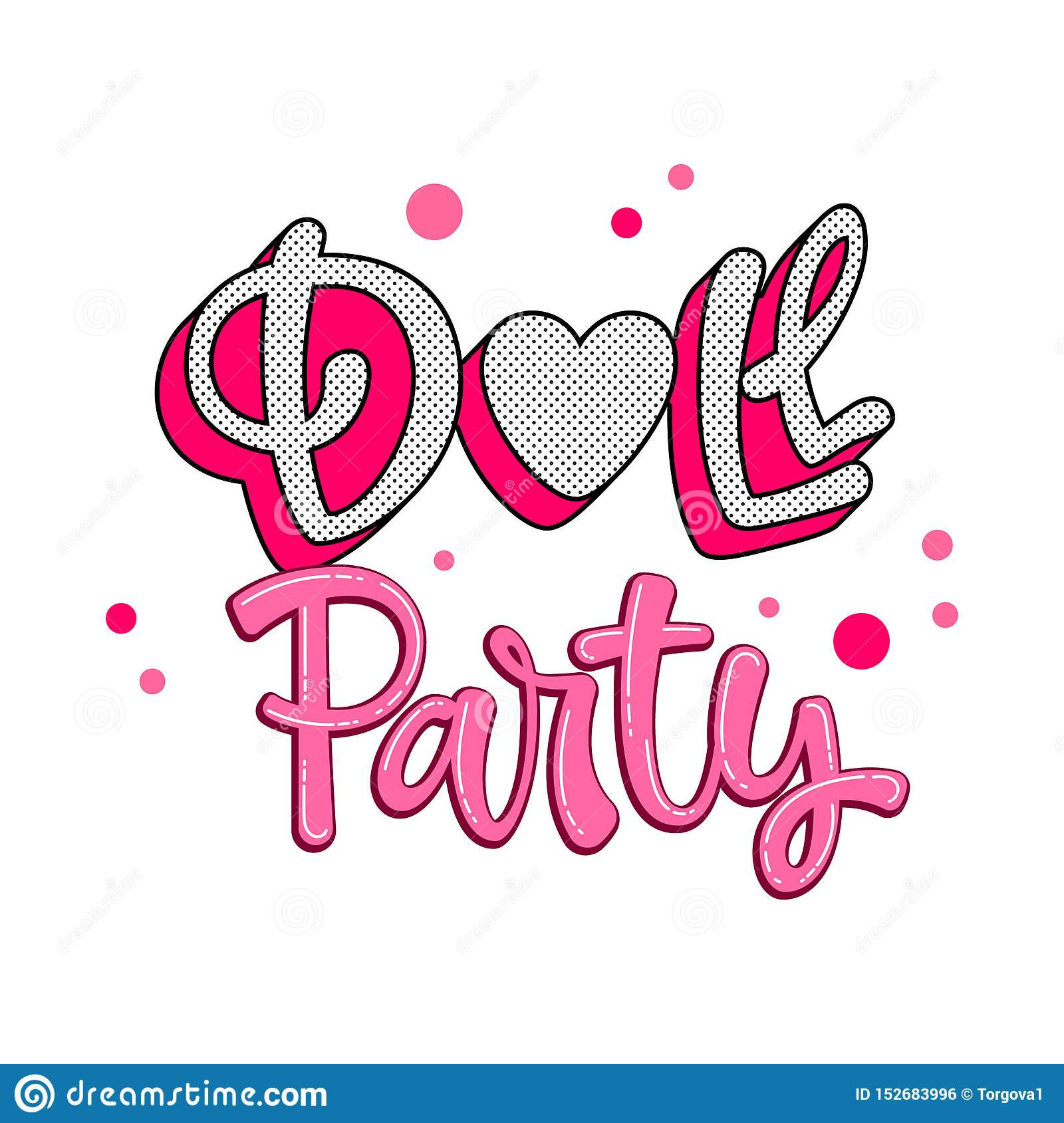 Doll Party Quote Lol Dolls Theme Girl Hand Drawn Lettering