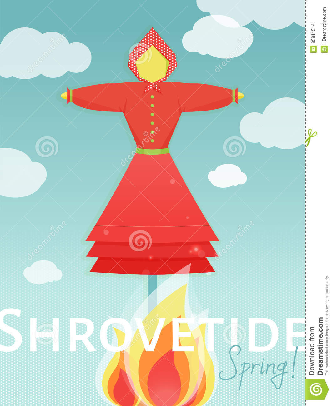 Doll-scarecrow On Shrovetide Celebration With Fire. Stock Vector ...