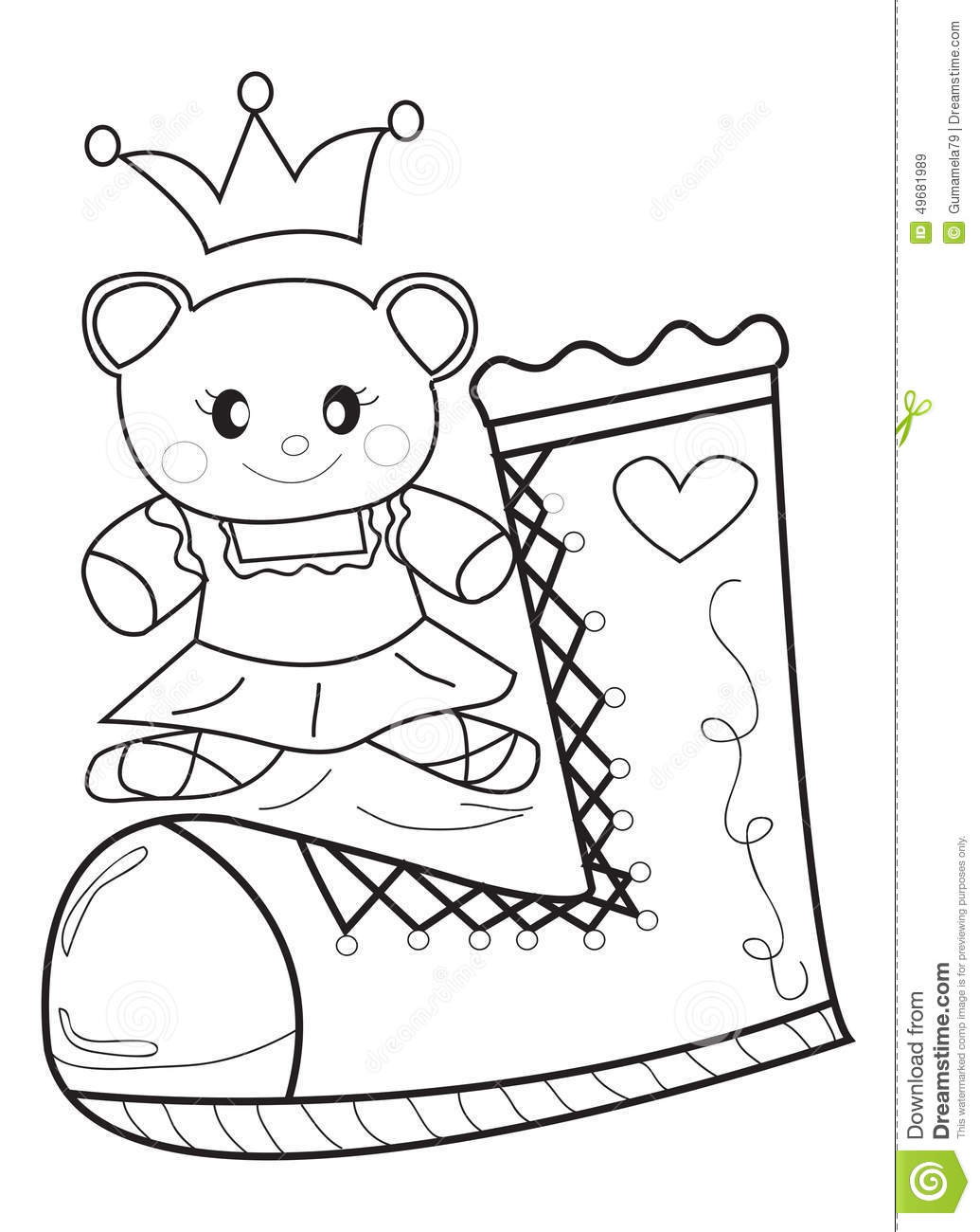 Doll And Shoe Coloring Page Stock Illustration Illustration Of