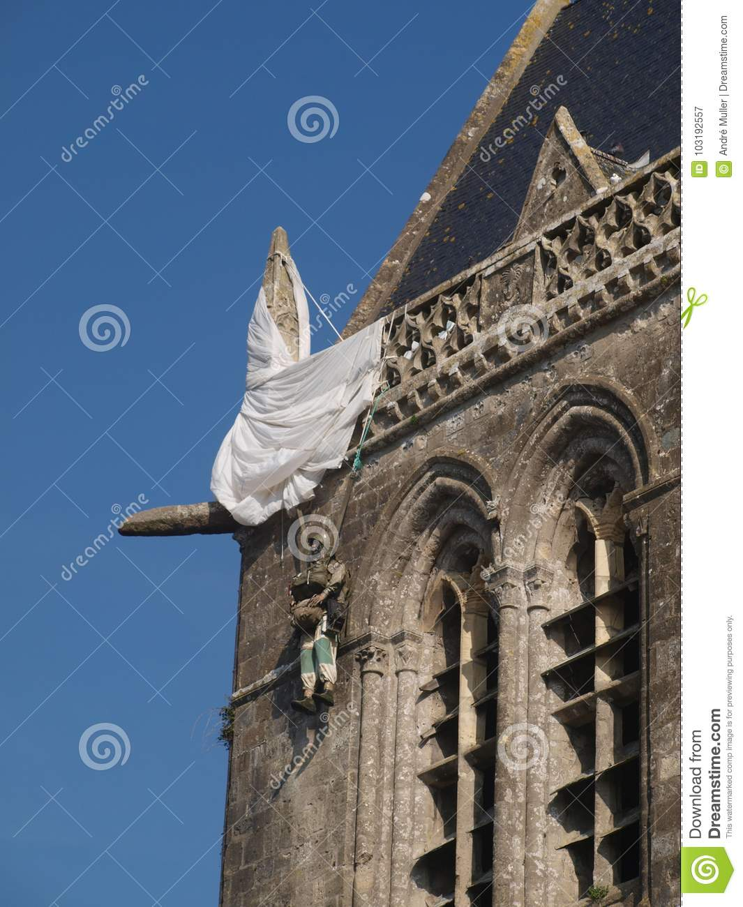 Doll Of A Soldier With Parachute On The Church Of Sainte-Mère-Église ...