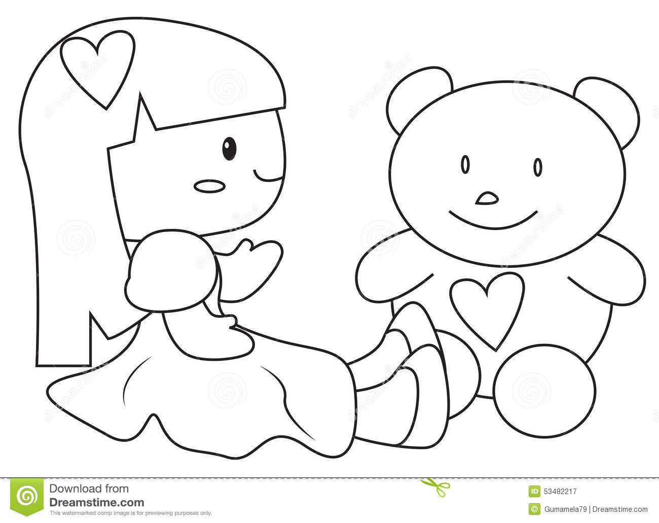 a doll and a teddy bear coloring page stock illustration image