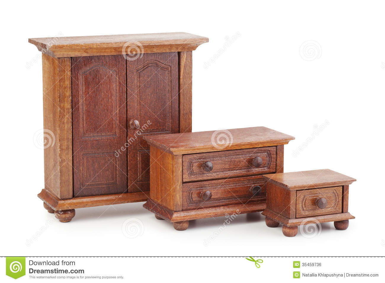 Doll wooden furniture set wardrobe chest of drawers and nights royalty free stock image Old wooden furniture