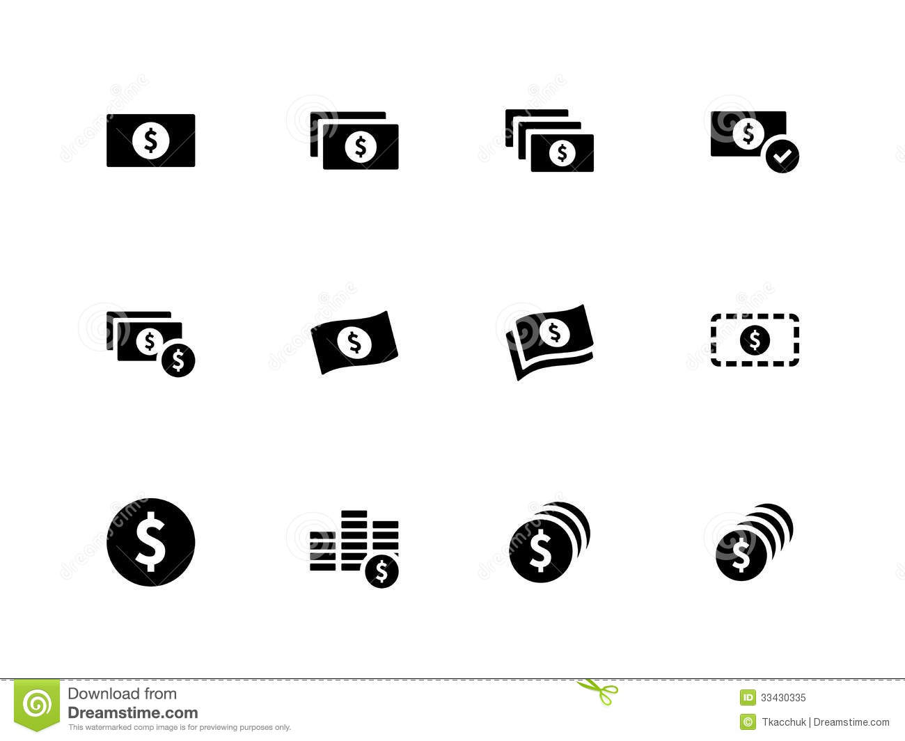Dollar Banknote Icons On White Background. Royalty Free Stock Photo ... Golf Ball On Tee Clipart