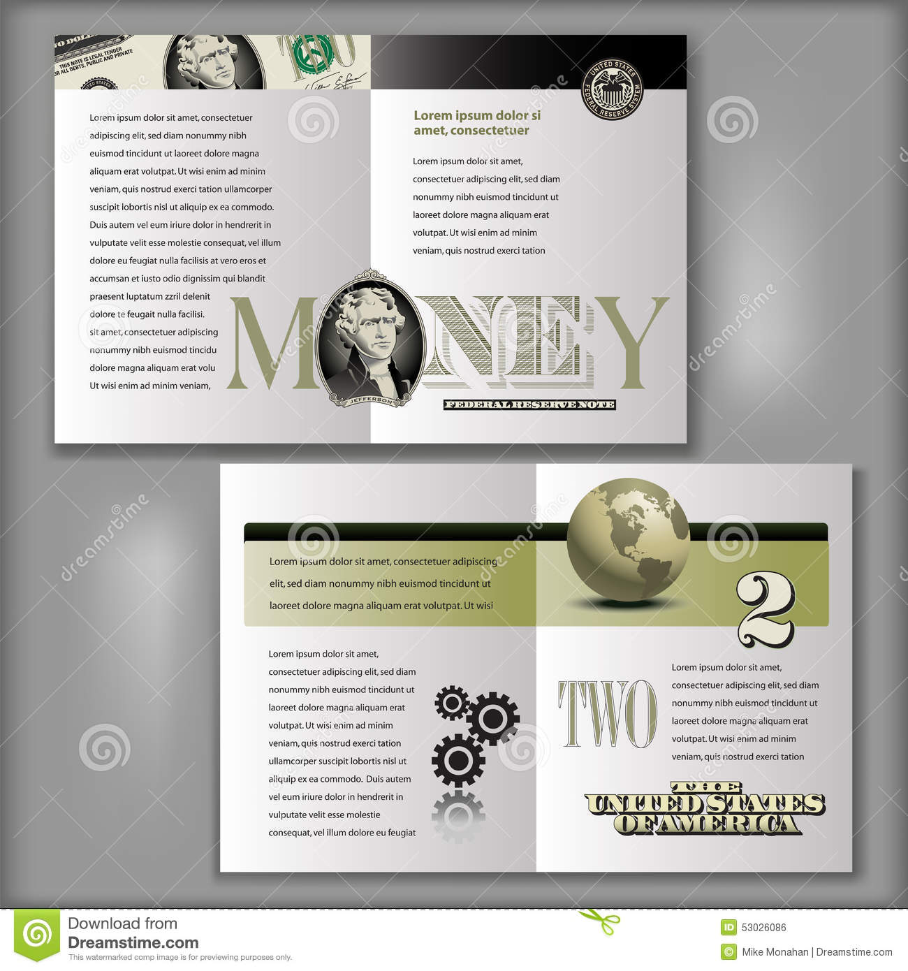 2 dollar bill brochure template stock vector image 53026086 for 4 page brochure template