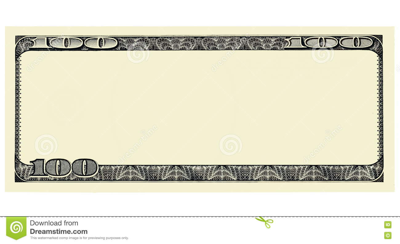 100 dollar bill front with copyspace isolated for design stock