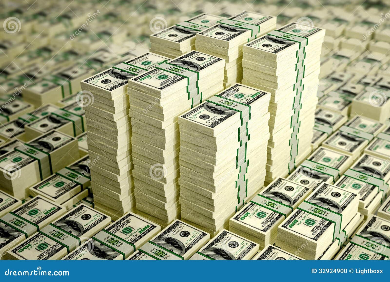 3d rendering piles of dollar bills with dof effect