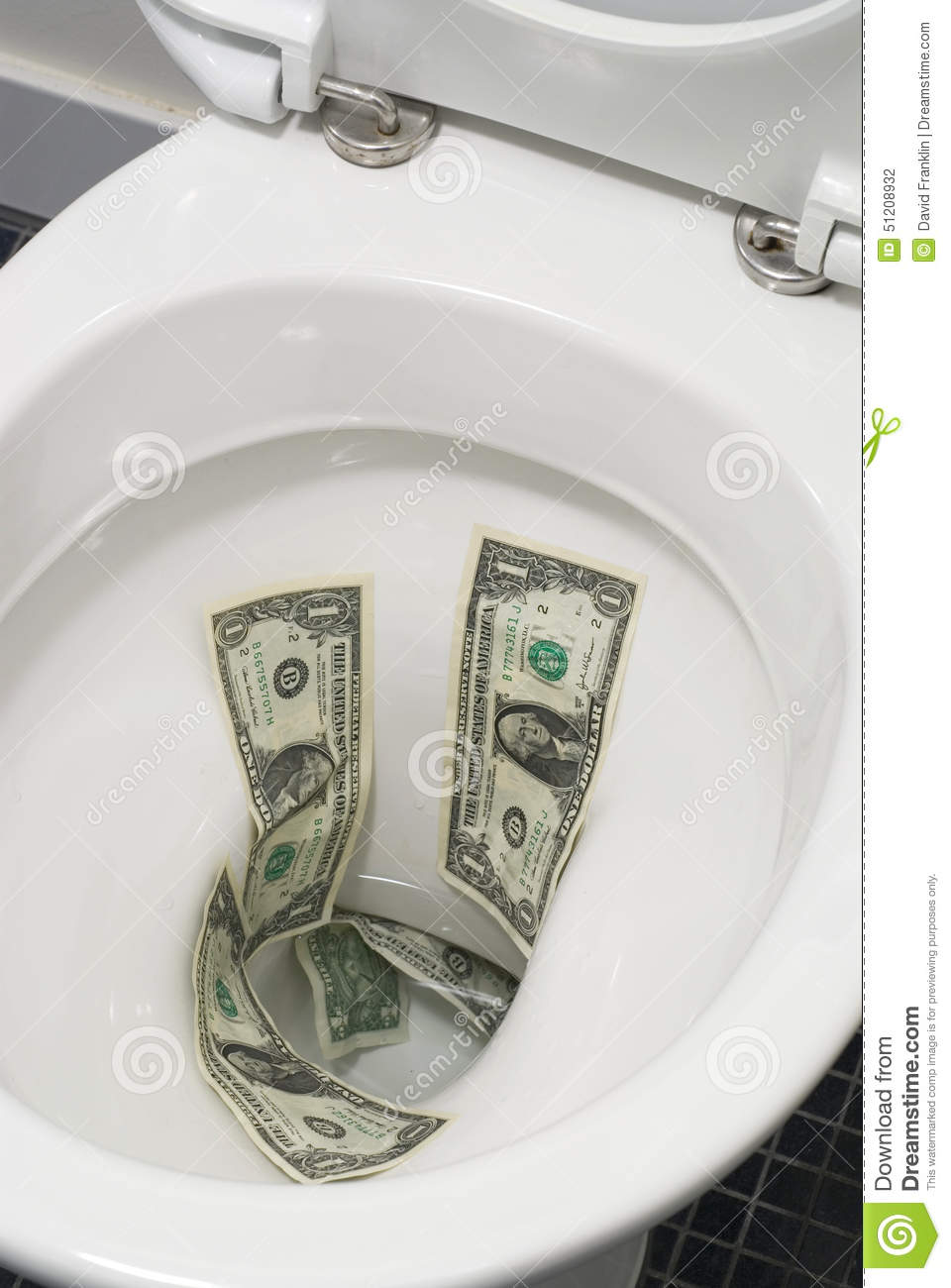 US One Dollar Bills Flushed Down The Toilet, Toilet Paper Worthless ...