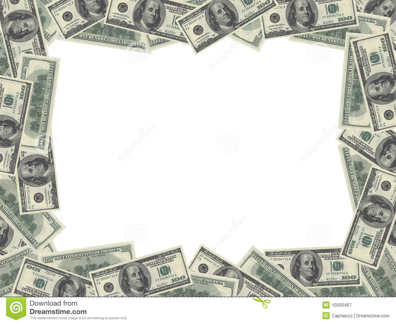 Royalty Free Stock Photography: Dollar bills frame. Image: 10500467