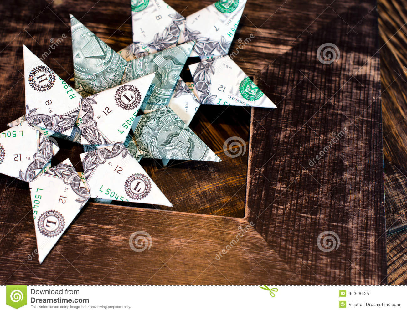 Dollar Bills Origami Stars On Old Wood Frames Background Stock Image