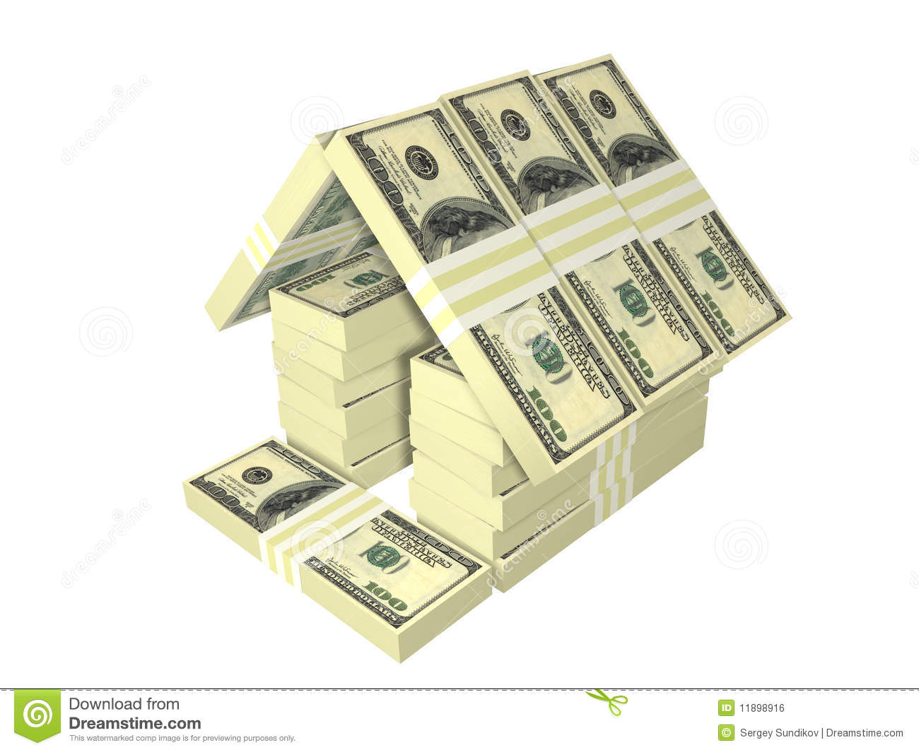 Dollar Bills Pack Money House Isolated Royalty Free Stock