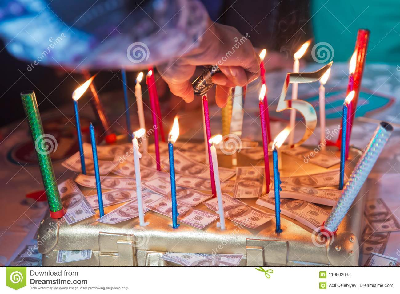 The Dollar Burns Candles Birthday Cake Made Of Money Editorial
