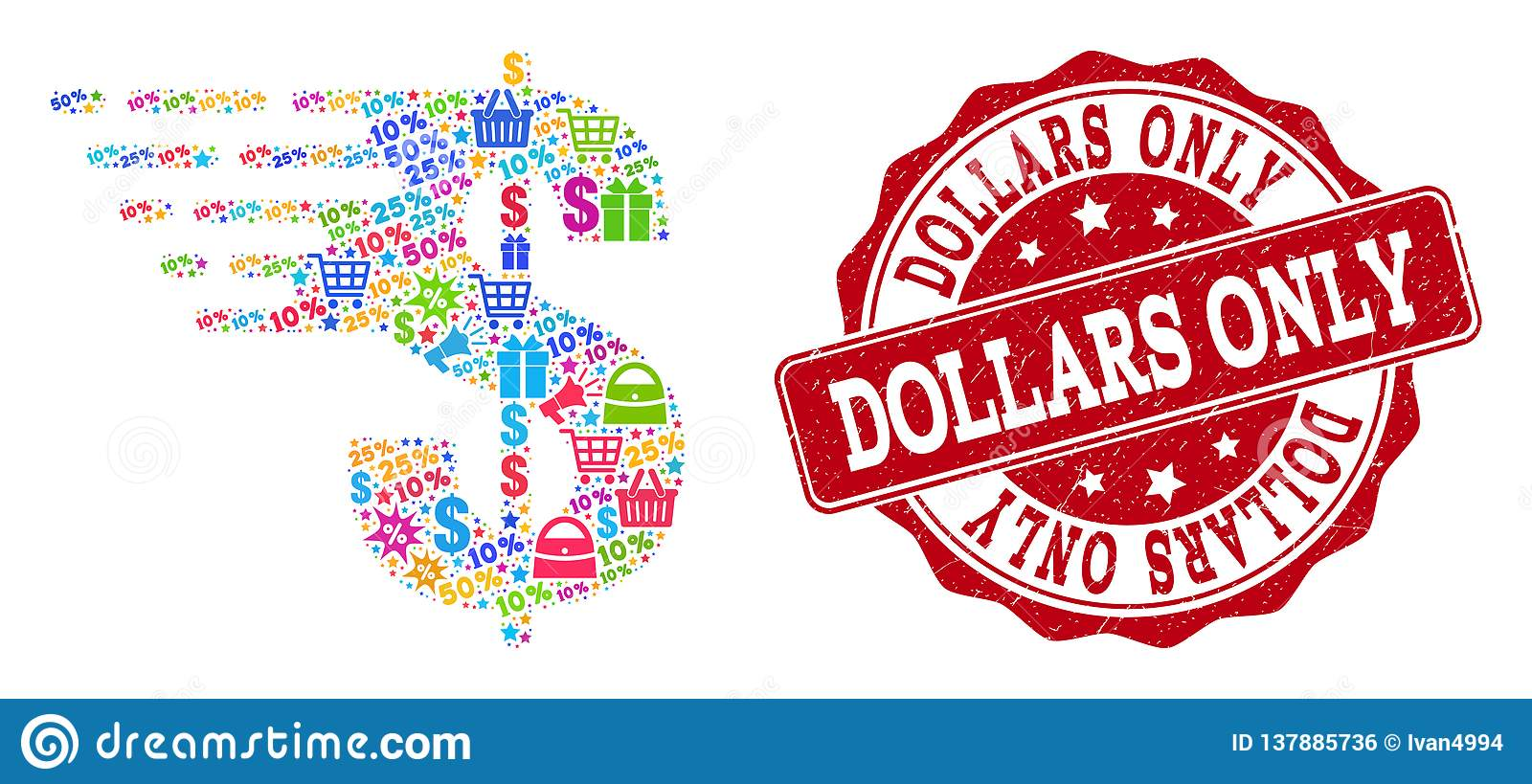 Dollar Composition of Mosaic and Distress Stamp for Sales