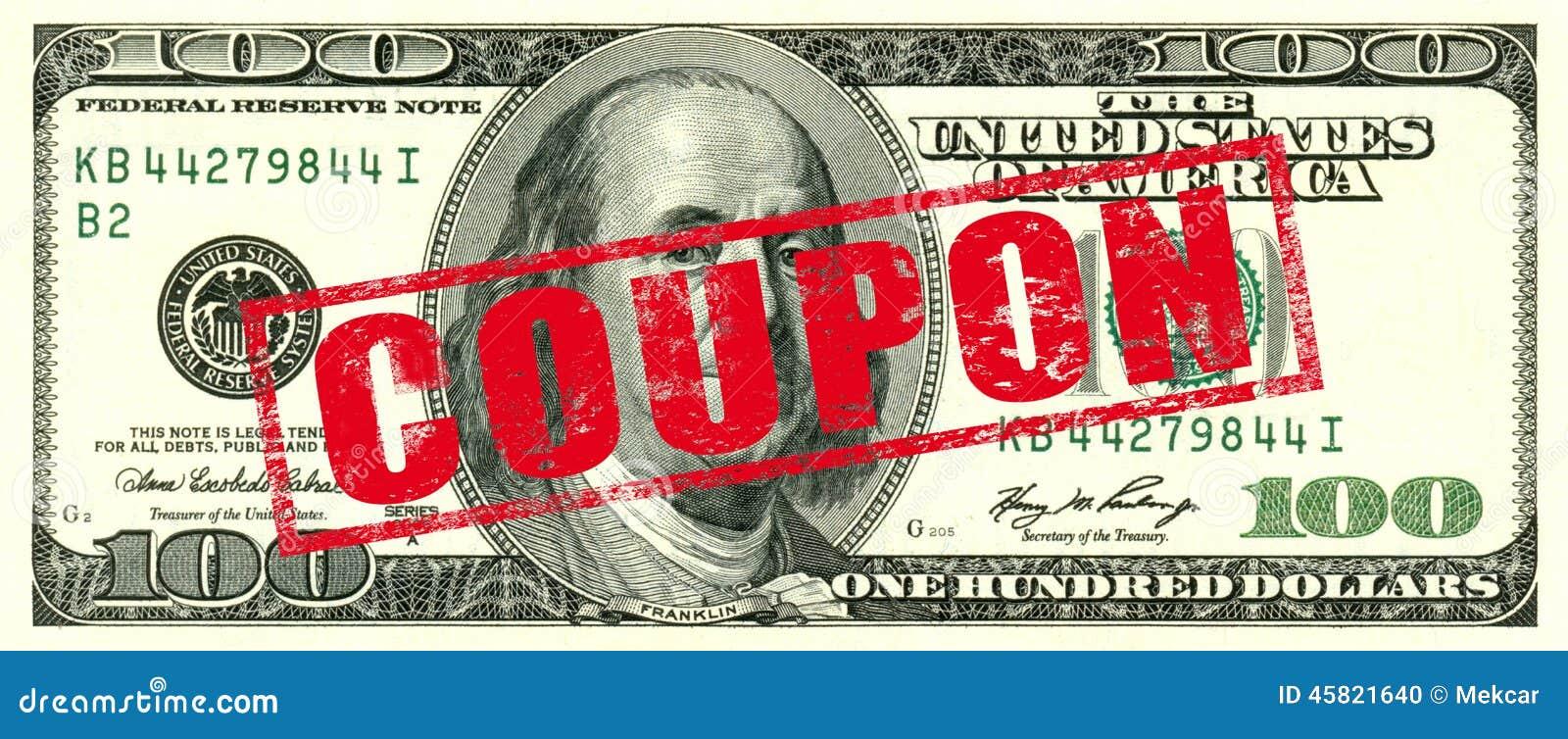 100 dollar coupon stock photo  image of winning  money