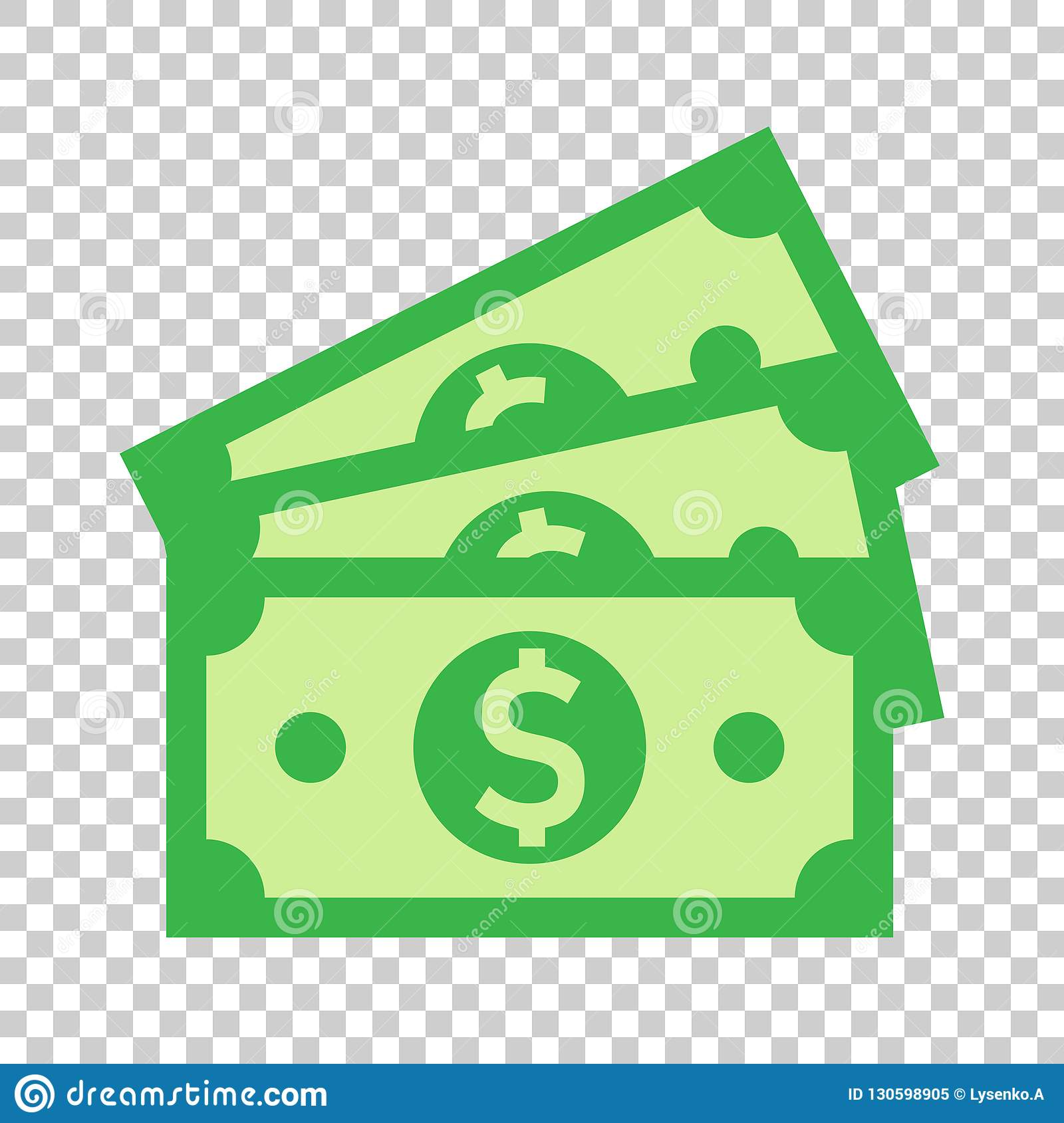 Dollar currency banknote icon in flat style. Dollar cash vector