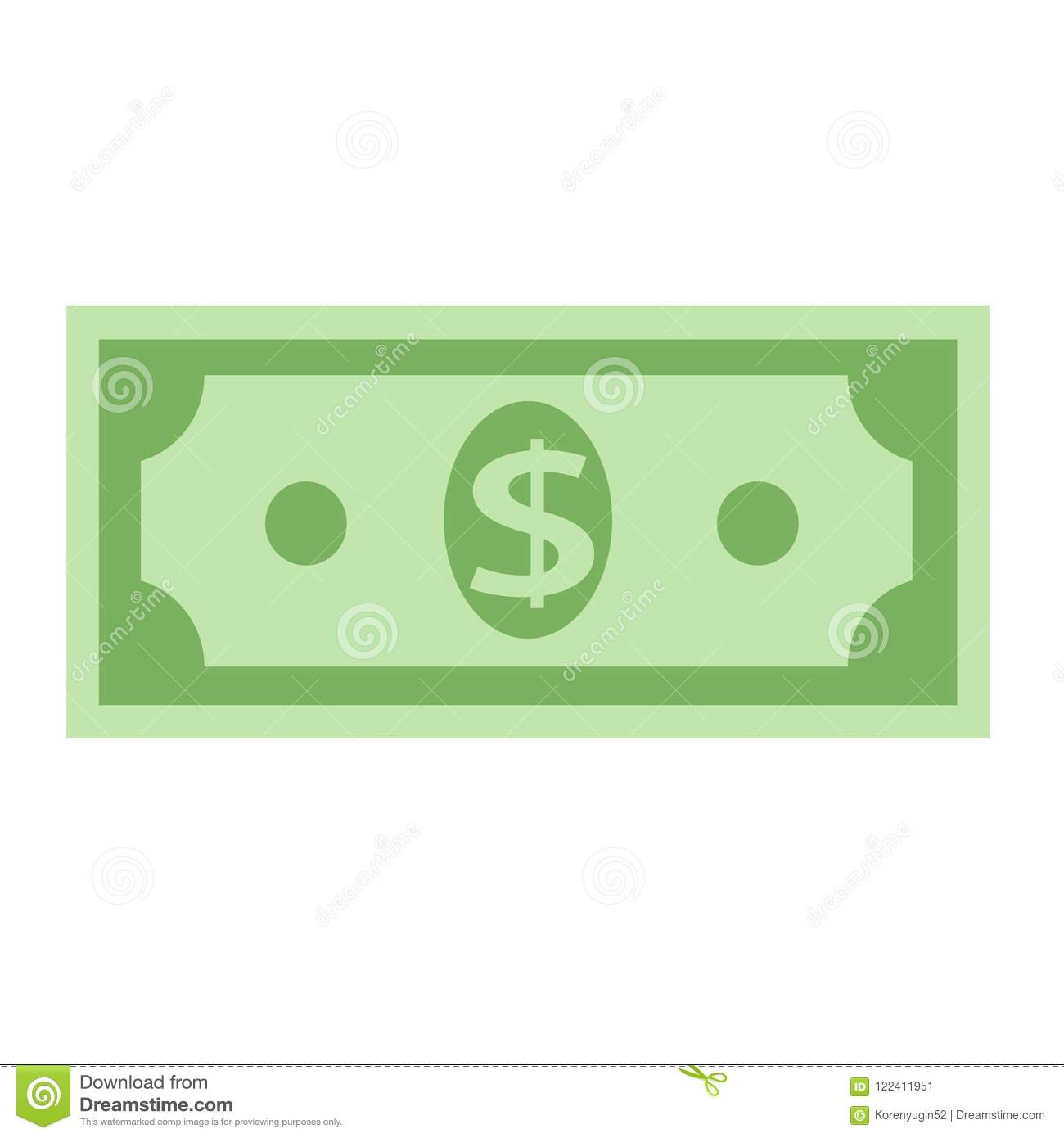 Dollar currency banknote icon, stock vector illustration