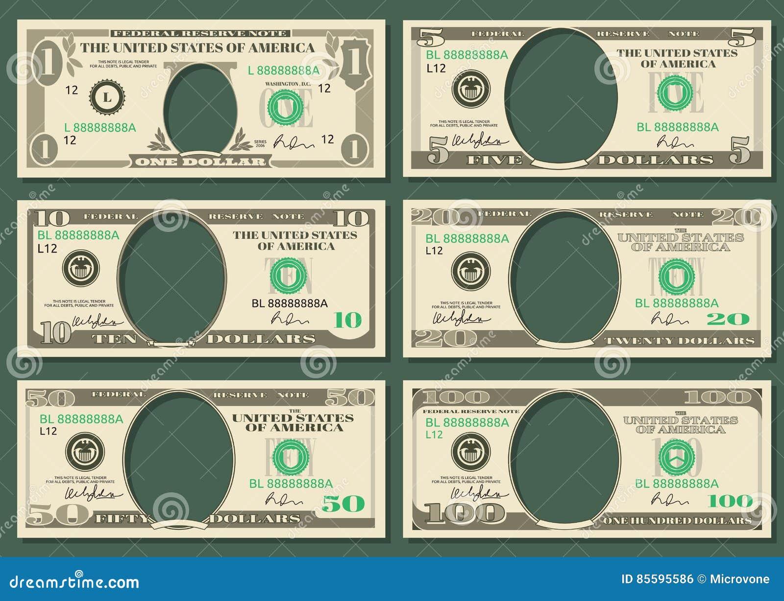 Dollar Currency Notes Vector Money Templates Stock Vector ...
