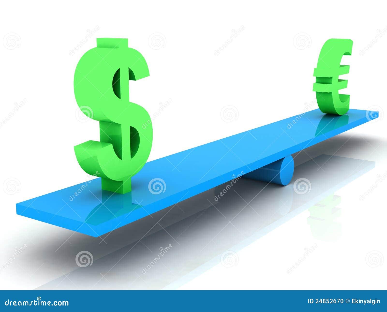 dollar en euro gelijk gewicht stock illustratie afbeelding 24852670. Black Bedroom Furniture Sets. Home Design Ideas