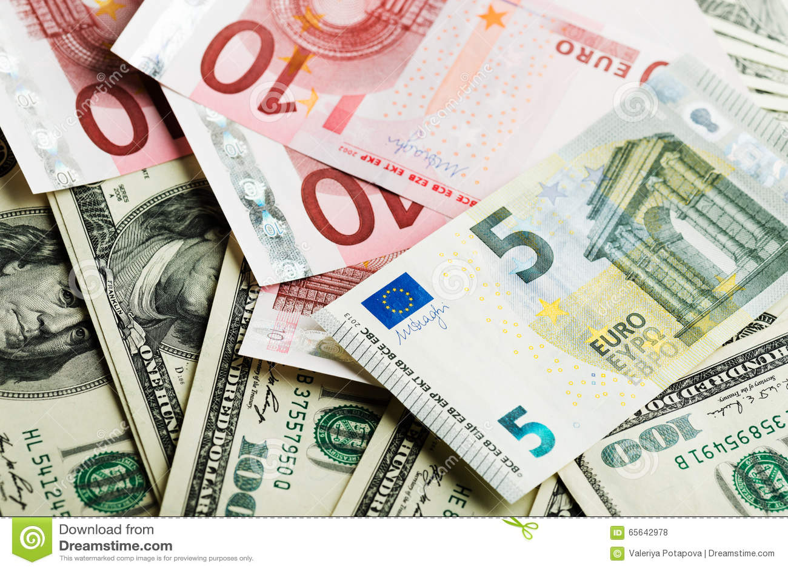 Dollar et euro notes