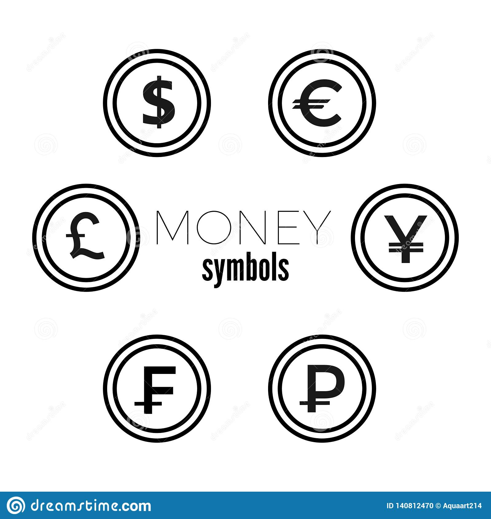 Dollar Euro Livre Yuan Rouble Et Icones Franches De