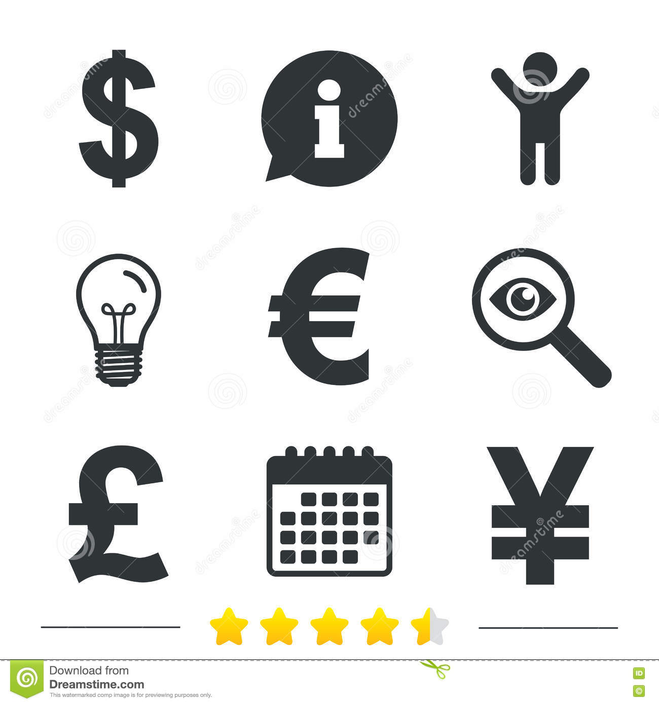 Dollar Euro Pound And Yen Currency Icons Stock Vector