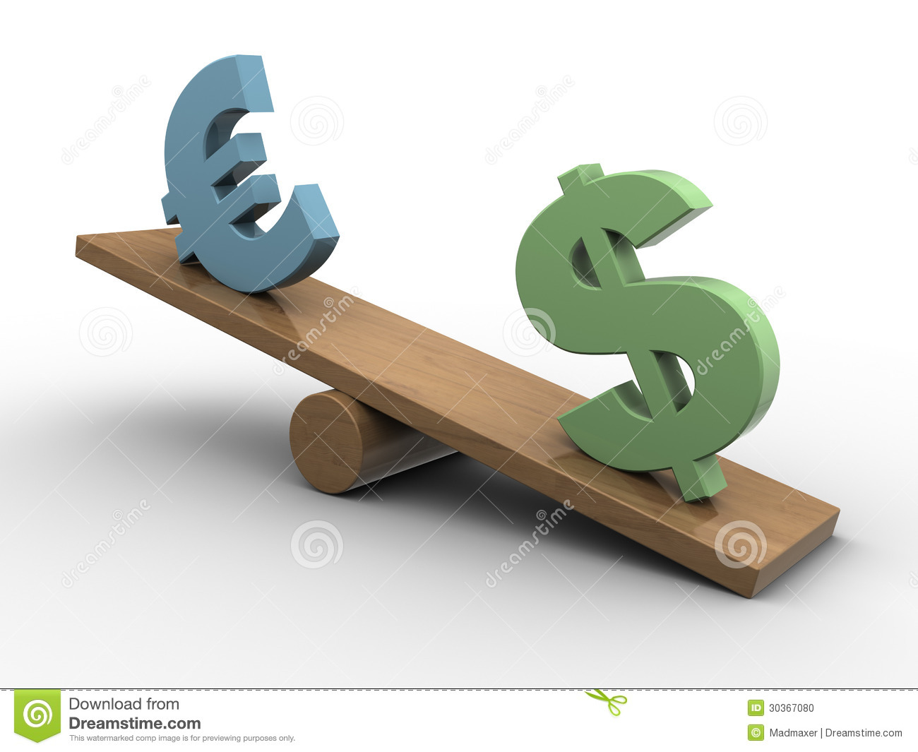 Dollar and euro seesaw stock photo image 30367080 for Seesaw plans designs