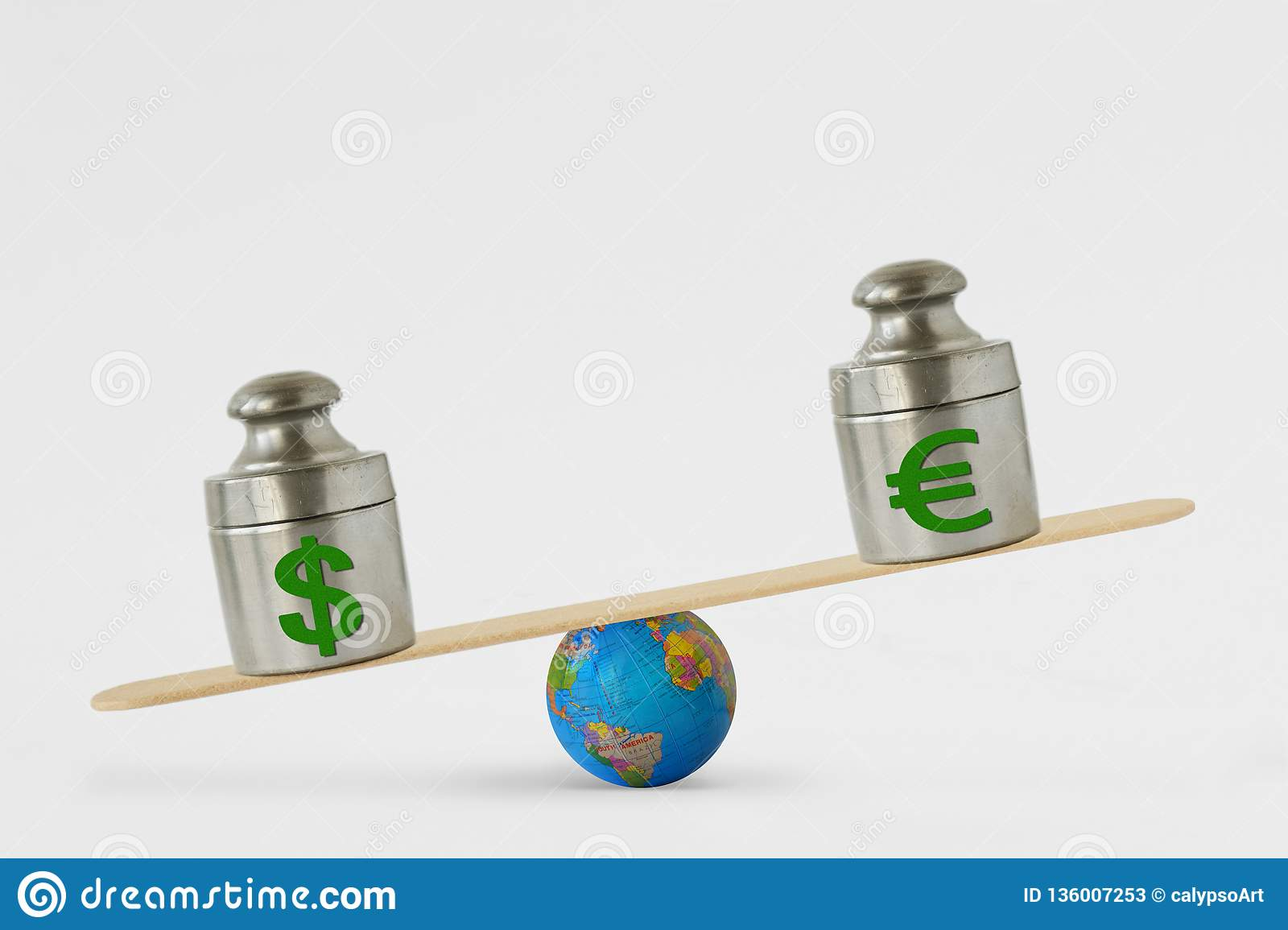 Dollar and euro symbols on balance scale - Concept of dollar dominance over euro in global markets