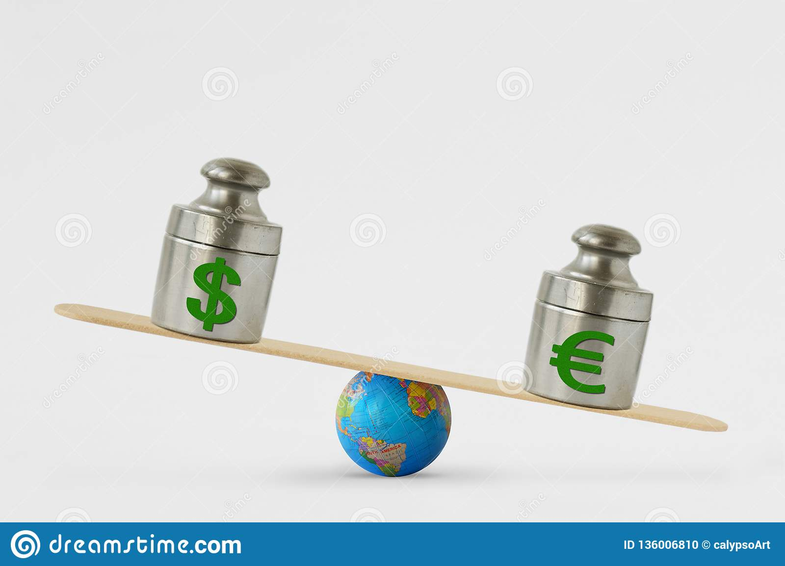 Dollar and euro symbols on balance scale - Concept of euro dominance over dollar in global markets