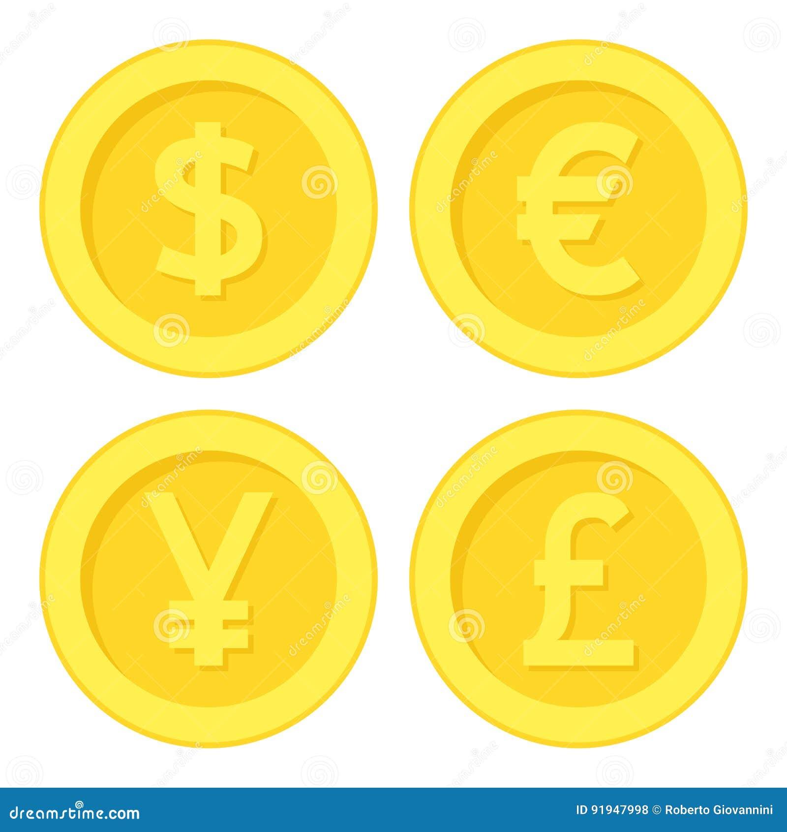 Dollar Euro Yen Pound Golden Coin Flat Icon