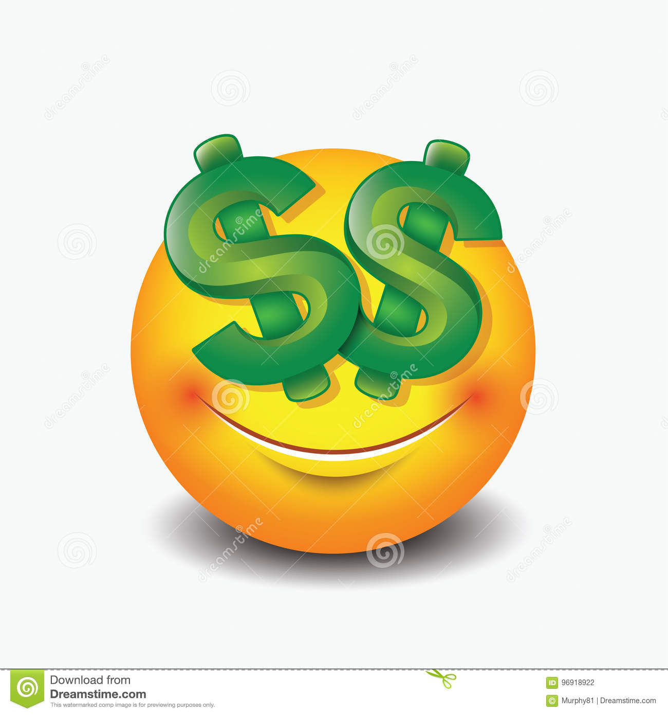 Dollar Eyes Emoticon Emoji Smiley