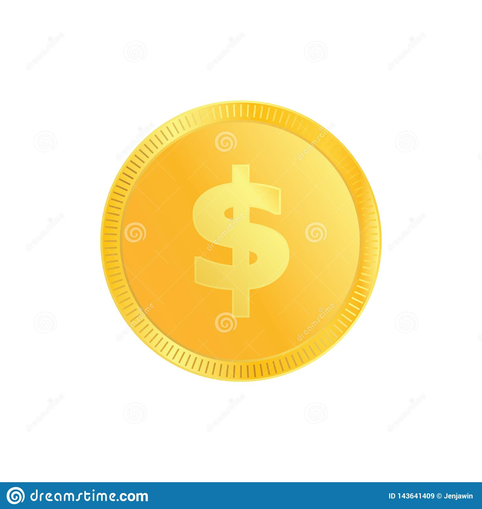 Dollar gold metal gradient coin. Money Coin with gold dollar for ecommerce vector eps10.