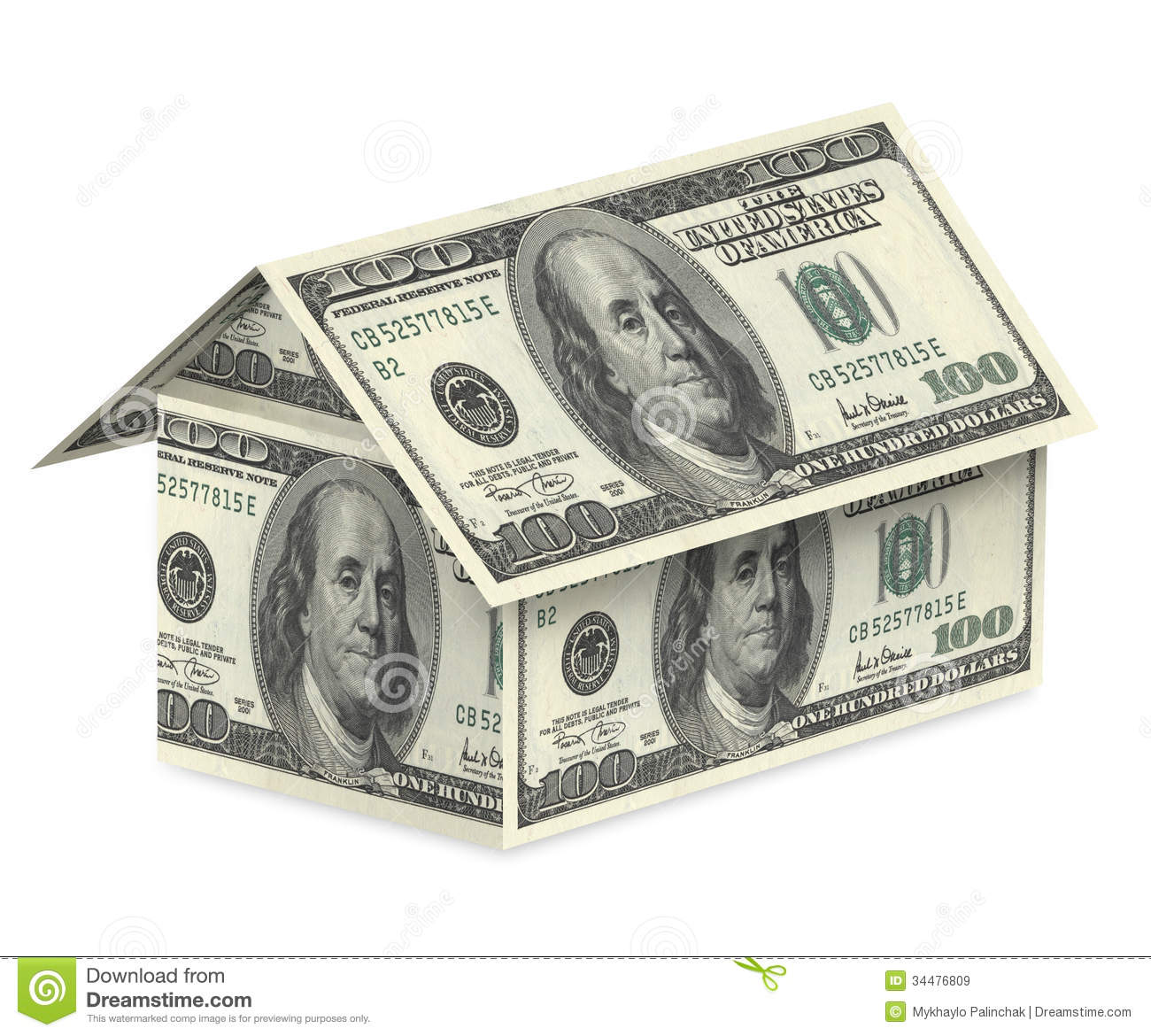 Dollar house on a white background royalty free stock for Home design unlimited money