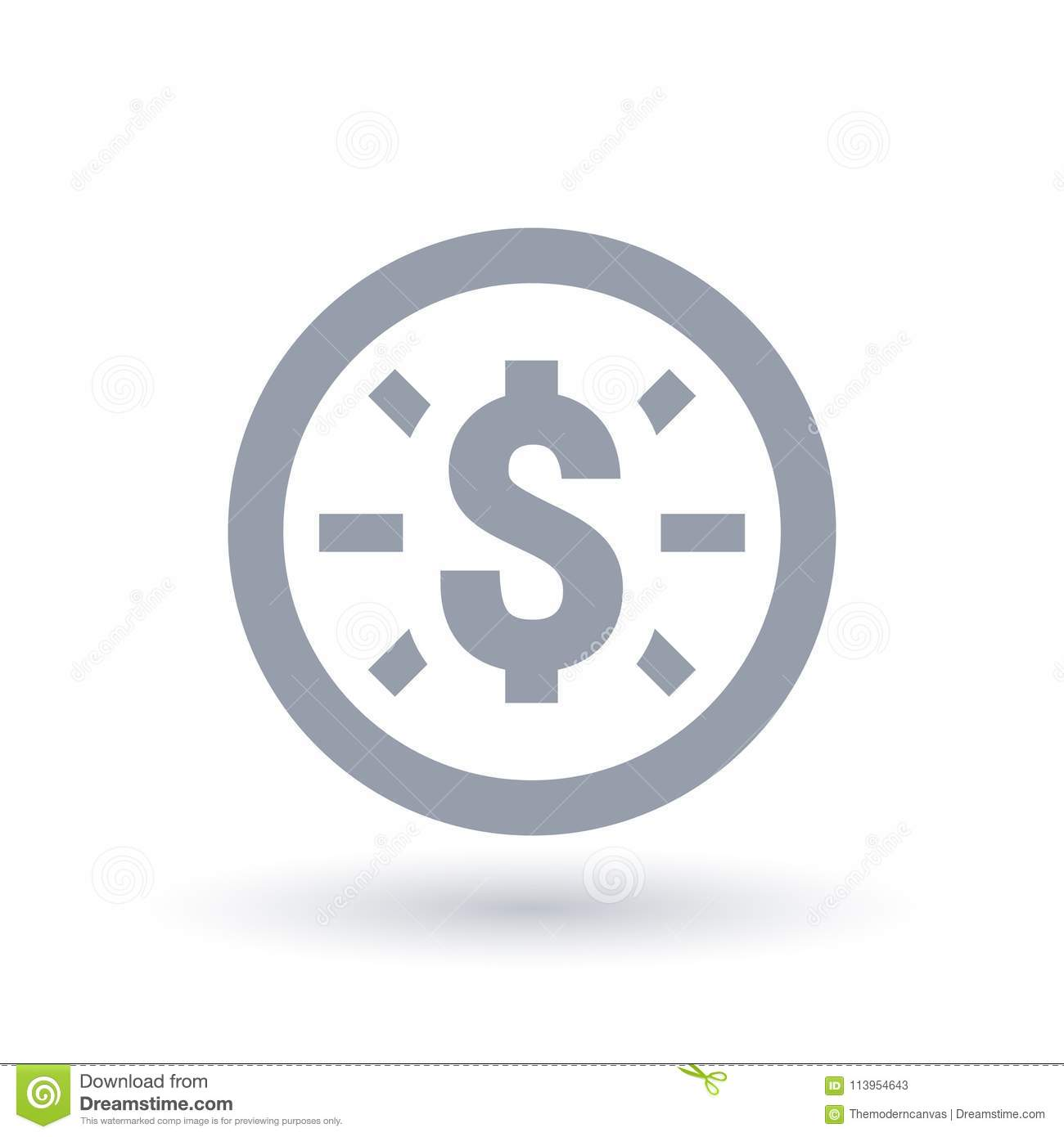 Dollar Icon Money Symbol Coin Symbol Stock Vector Illustration