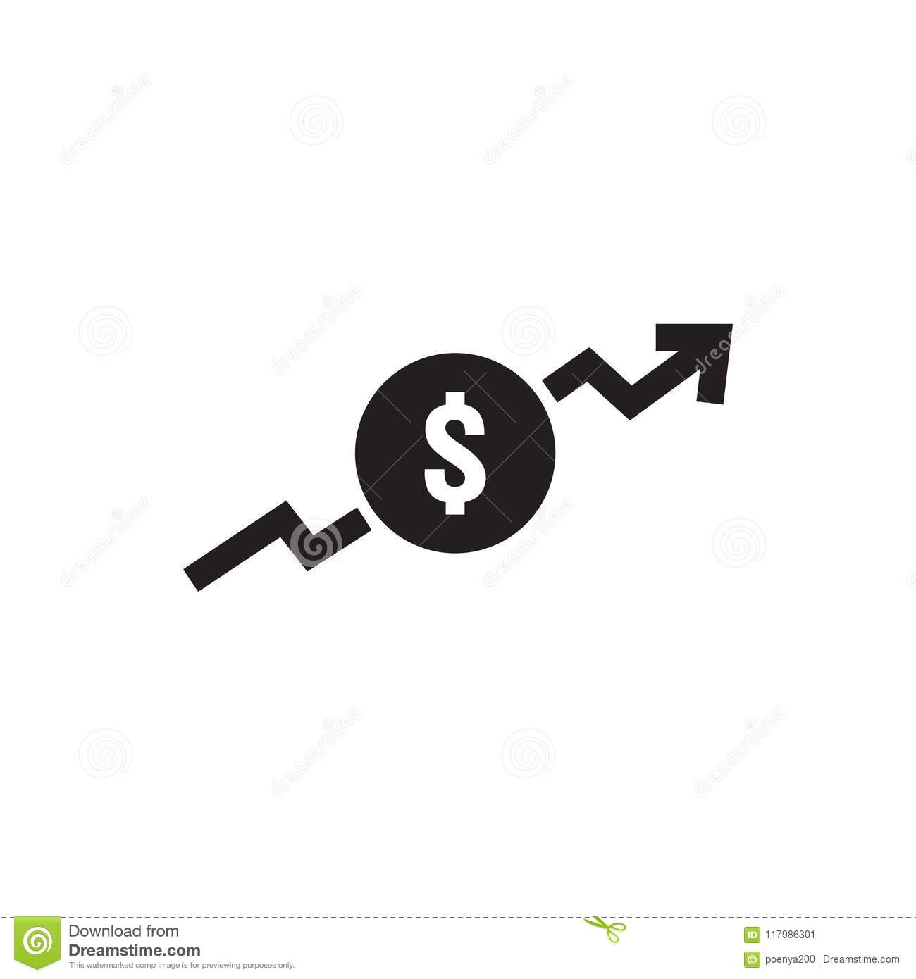 dollar increase icon money symbol with arrow stretching rising up