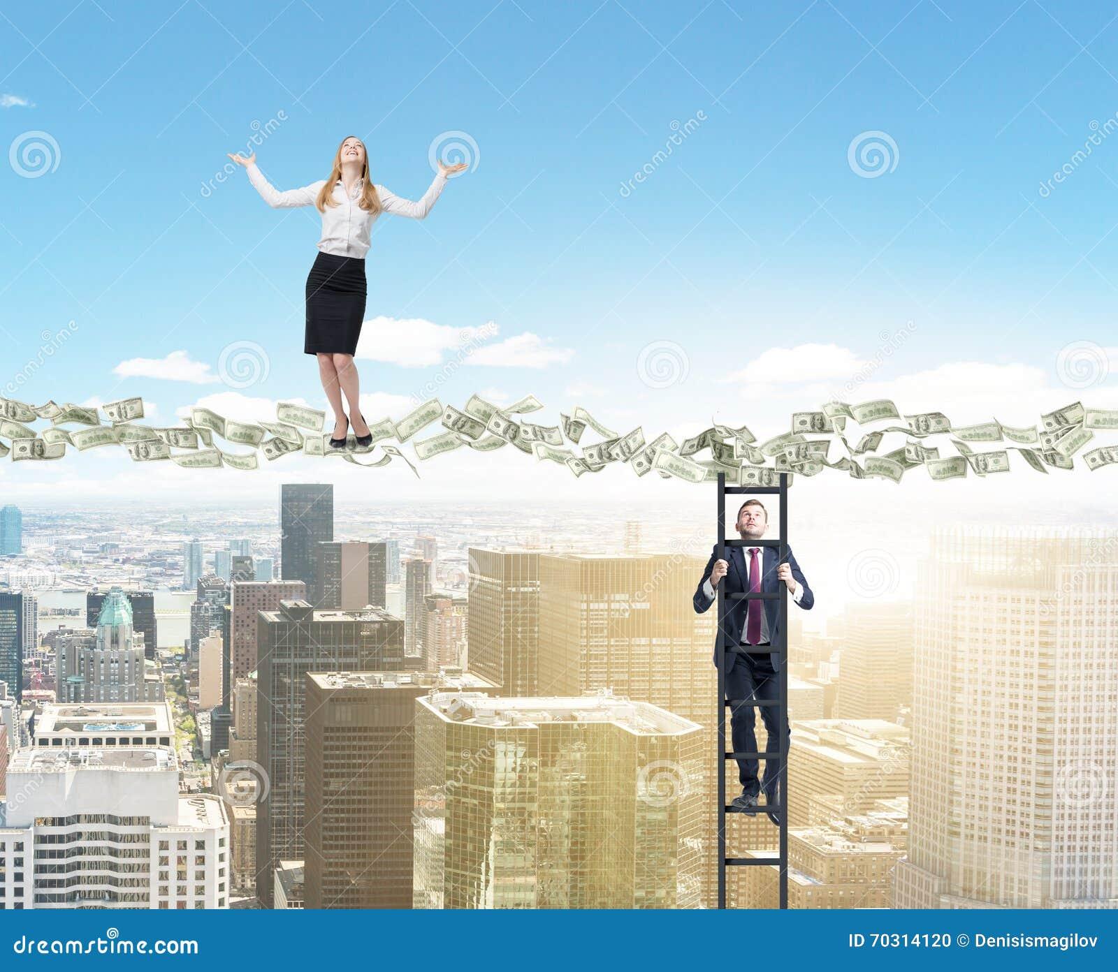 Dollar path businesspeople