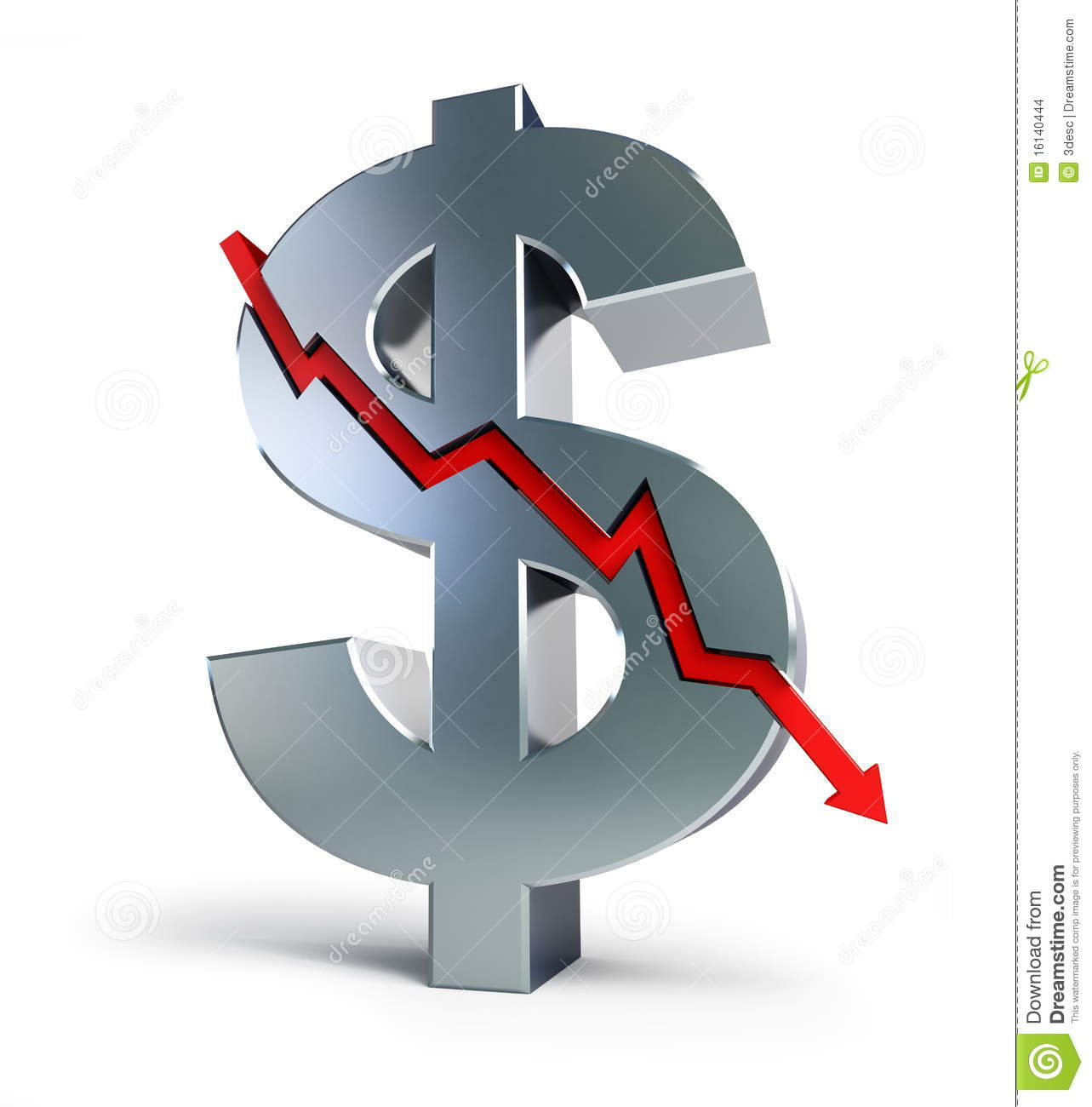 Finance Sign: Dollar Sign Is Cracked Financial Crisis Stock Illustration
