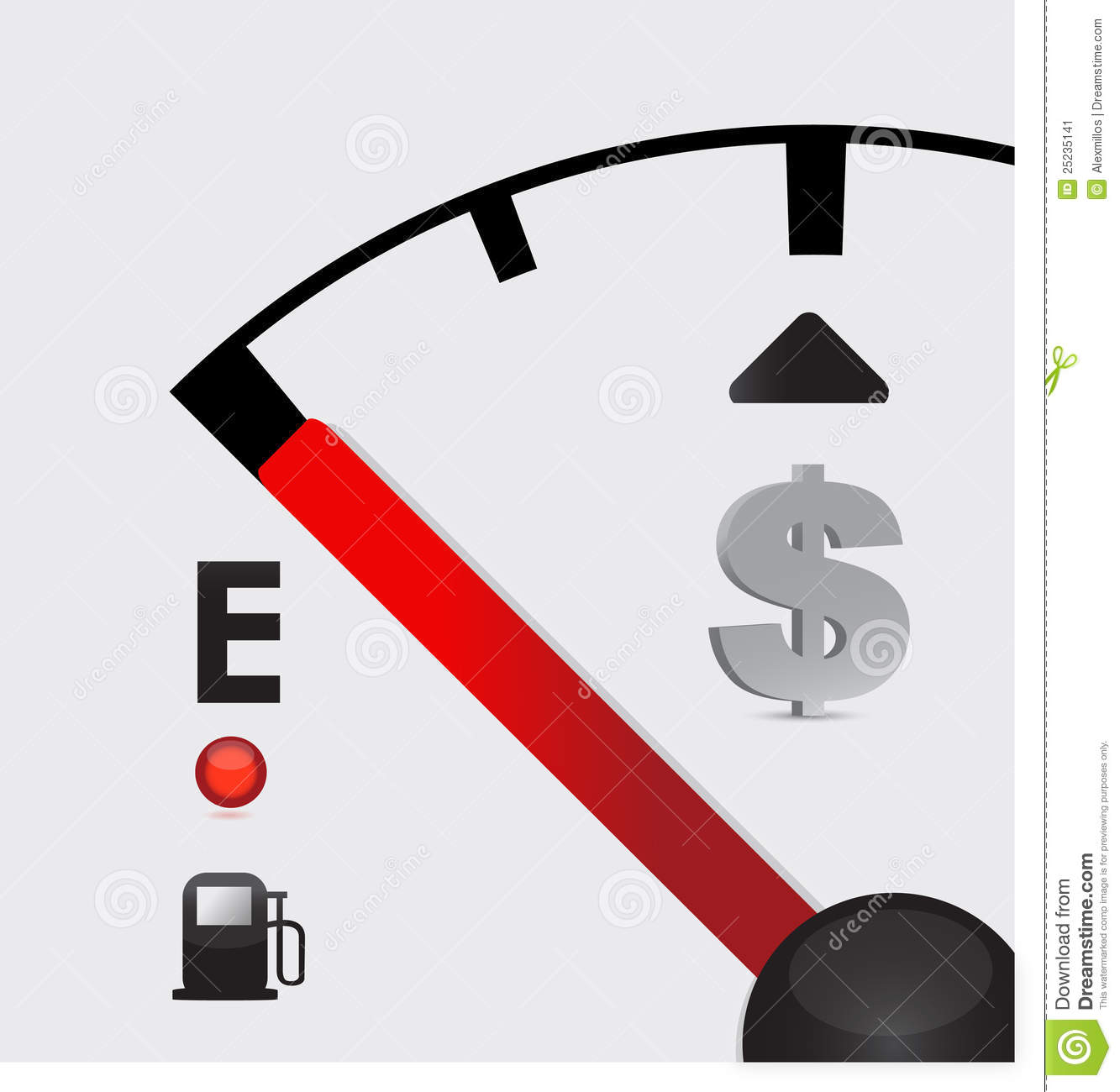 Dollar Sign Gas Tank Almost Empty Stock Vector