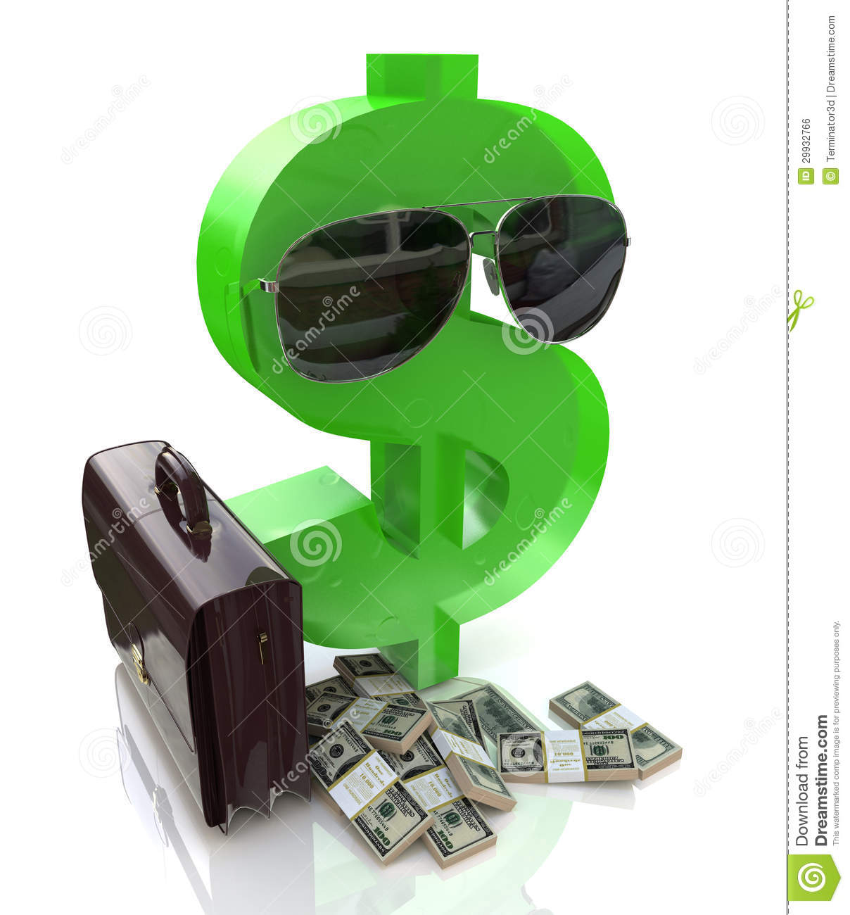 dba777afae13 Dollar Sign With Glasses And A Suitcase Stock Illustration ...