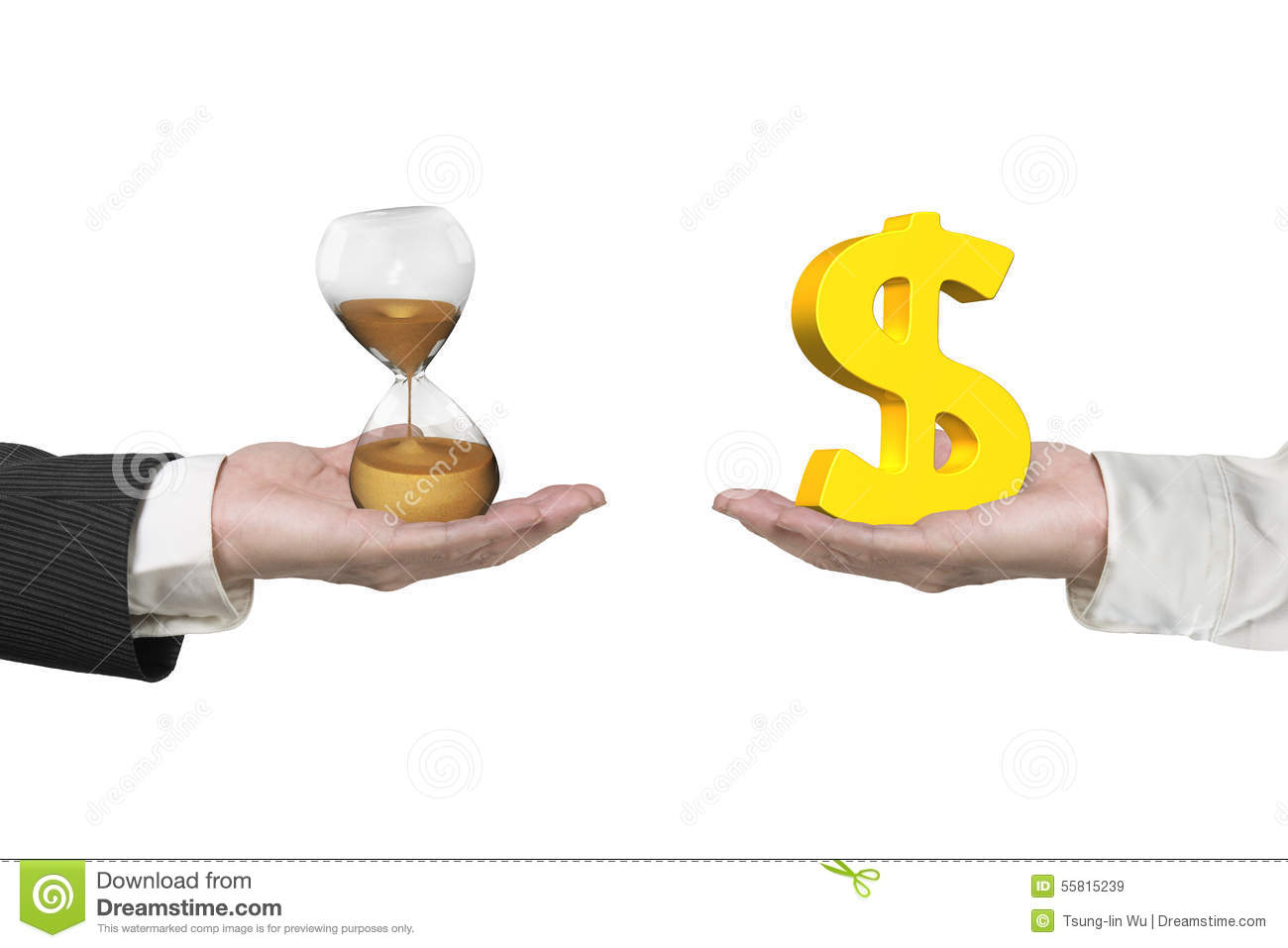 Dollar sign and hour glass with two hands
