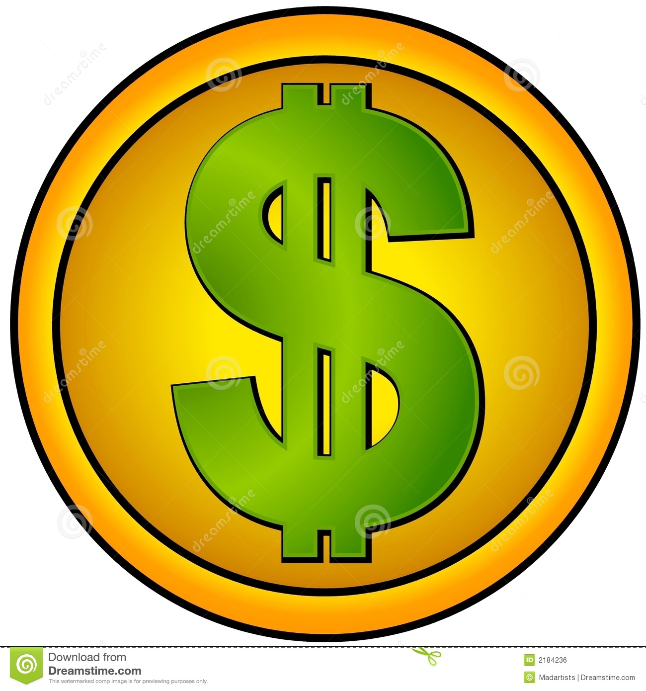 cash and money illustration of a green dollar sign in a gold colored ...