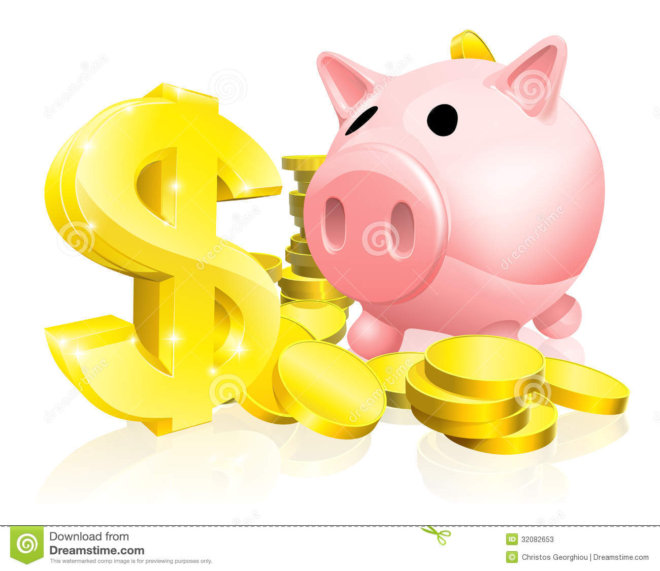 Piggy Bank With Gold Dollar Coins